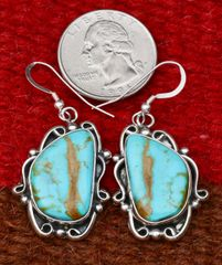 Navajo Sterling earrings with bookend Kingman, Arizona turquoise, by Elouise Kee.