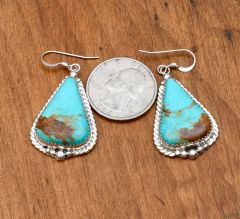 Navajo Sterling earrings with Kingman turquoise and nice copper matrix by Virginia Beccen.