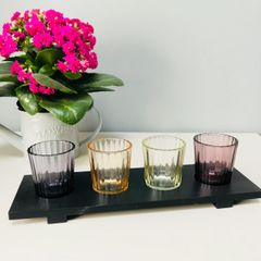 Sleek Wooden Candle Plate with Tealight Holders