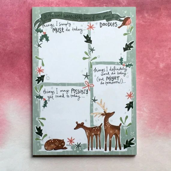 Winter Wonderland A5 Notepad, List Pad, Things To Do Note Pad, Desk Pad