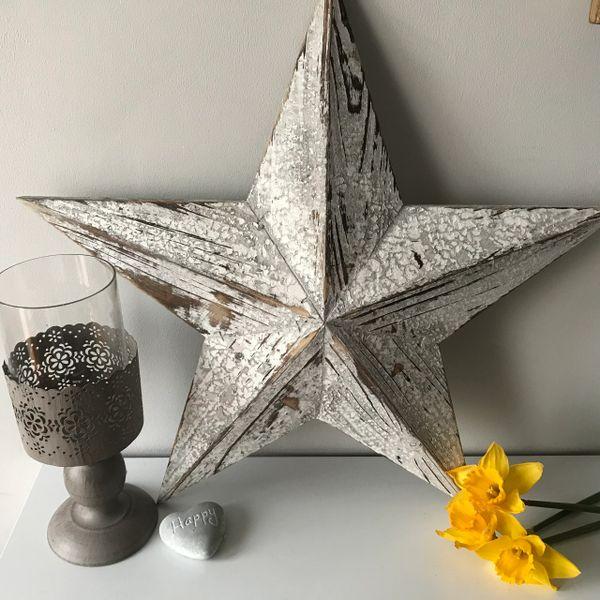Large White Wooden Barn Star