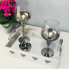 Wooden Candle Tray With Silver Candlestick Glasses And Heart