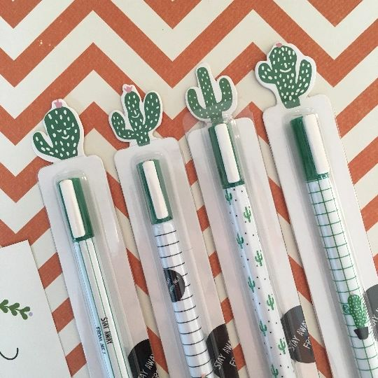 Green and White Cactus Gel Pens