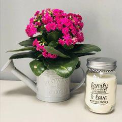 Grey 'Flowers & Garden' Watering Can Planter
