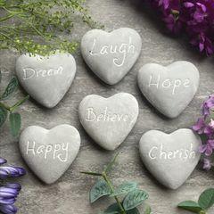 Grey Stone Heart Ornaments by Gisela Graham