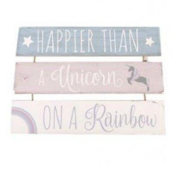 Happier Than A Unicorn On A Rainbow 3 Tier Plaque