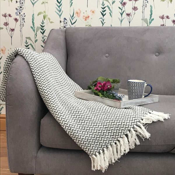 Herringbone Pattern Throw in Blush, Cream and Charcoal Grey