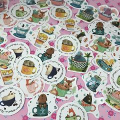 Animals in Cups Stickers