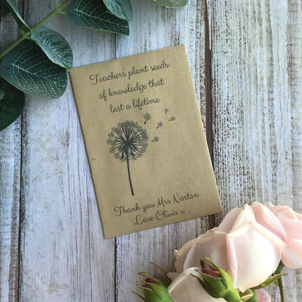 Teachers Plant Seeds Of Knowledge...Mini Kraft Envelope with Wildflower Seeds