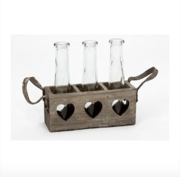 Vases in Wooden Heart Tray