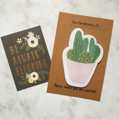 Cactus Sticky Note - Bloom Where You Are Planted!