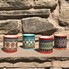 Small Bohemian Ceramic Planters, Set of 4 Assorted Colours
