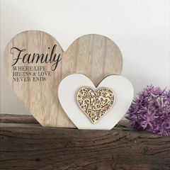 Family Where Life Begins & Love Never Ends Cut Out Double Heart