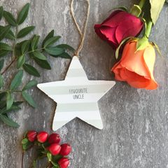 Favourite Uncle Wooden Hanging Star By Gisela Graham
