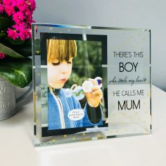 He Calls Me Mum Glass Photo Frame