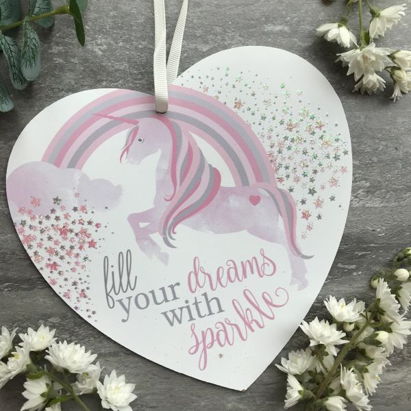 Fill Your Dreams With Sparkle Unicorn Heart Plaque