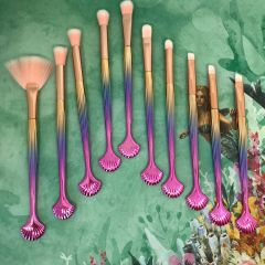 Shell Make Up Brushes - Gold & Pink