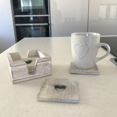 Wooden Coaster Set In Holder With Cutout Heart