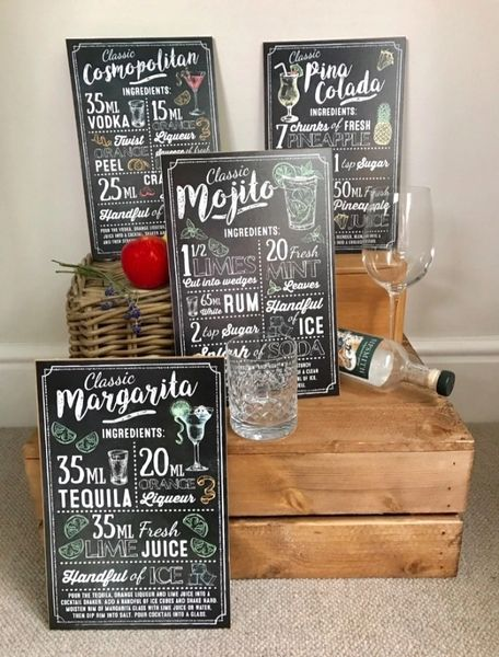 The Classic Cocktail Ingredients Hanging Sign!