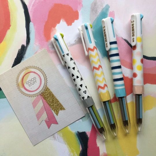 Geometric 4 Colour Ballpoint Pen