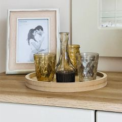 Round Wooden Candle Plate With T-Light Holders & Vase