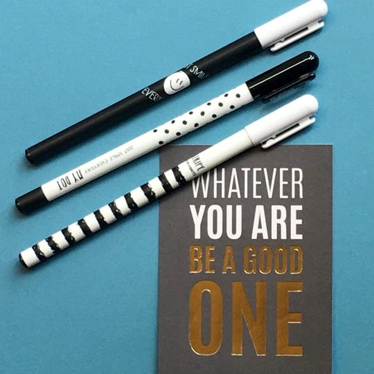 Black & White Gel Pens - Dots / Smile / Stripes