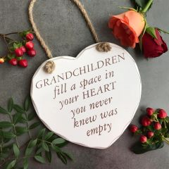 Grandchildren Fill A Space In Your Heart You Never Knew Was Empty. Shabby Chic Wooden Hanging Heart