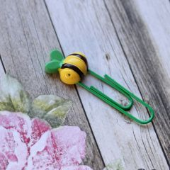 Bee Happy Paper Clip - Green