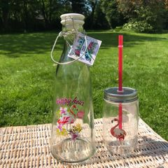 Flamingo Glass Bottle With Swing Top