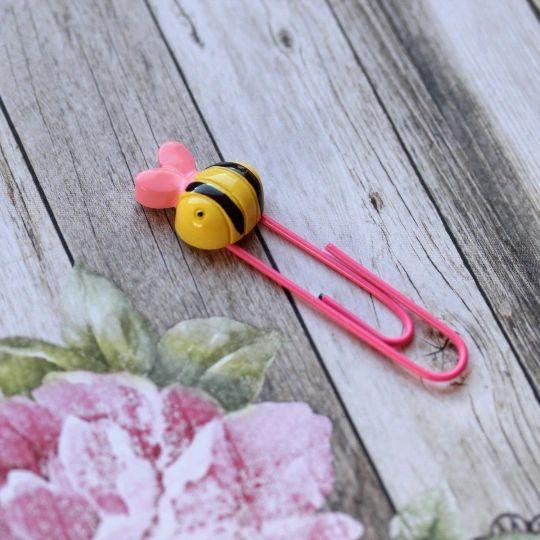 Bee Happy Paper Clip - Pink