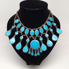 KUCHI Vintage Tribal BellyDance Turquoise Blue Choker Necklace