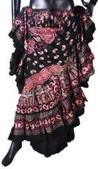 BLOCK PRINT RED BLACK Tribal Bellydance Tribal ATS Gypsy Skirts