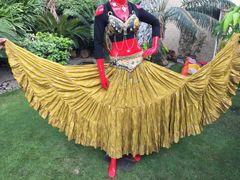 GOLD PAISLEY CHUNRI Tribal Bellydance Gypsy Skirt
