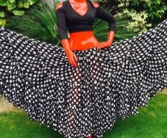 BLACK&WHITE FABULOUS FULL POLKA DOT TRIBAL SKIRTS
