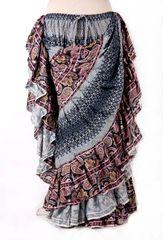 BLOCK PRINT PAISLEY GREY Tribal Bellydance Tribal ATS Gypsy Skirts