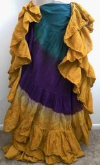 AMAZING DIP DYED ATS®TEAL/PURPLE/GOLD TRIPLE Dip-Dyed Tribal Bellydance ATS®Tribal Gypsy Skirts