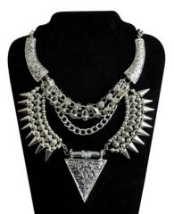 DECO SILVER VINTAGE TRIBAL GYPSY BOHO NECKLACE