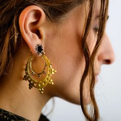 TRIBAL FUSION Vintage Tribal BellyDance FEMI DOUBLE Hoop Earrings
