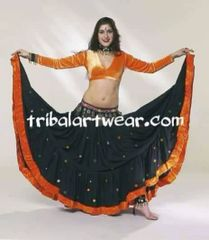 ORANGE SISHA Tribal Bellydance ATS®Tribal Gypsy Skirts Special Order