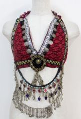 CHOLI Deluxe RED Tribal Fusion BellyDance Fancy Fusion Gypsy Bra Top