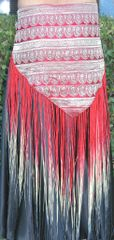 RED BELT SILK SARI VINTAGE HAND-DYED BROCADE TRIBAL VEE GYPSY BELT