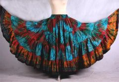 TURQ MULTI BLOCK PRINT Tribal Bellydance Tribal ATS Gypsy Skirts