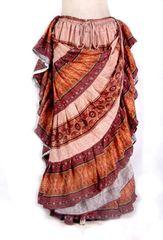 BLOCK PRINT PEACH FIRE Tribal Bellydance Tribal ATS Gypsy Skirts