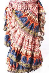 BLOCK PRINT ORG/BLUE Tribal Bellydance Tribal ATS Gypsy Skirts