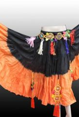 BLK ORANGE DIP DYED ATS®Tribal Bellydance Gypsy 25 Yard Skirt