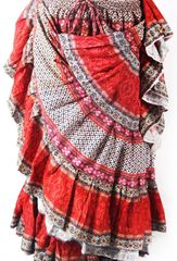 BLOCK PRINT RED ORG Tribal Bellydance Tribal ATS Gypsy Skirts