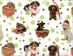 Playful Puppies Christmas Dog Gift Wrapping - 6 Ft Sheet