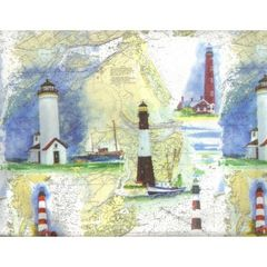 Lighthouses Heavy Embossed Gift Wrapping Paper - 100 Ft Roll