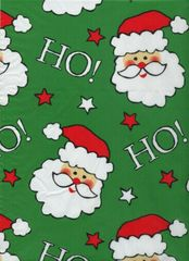 Santa Faces on Green Christmas Gift Tissue Paper - 120 Sheets