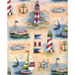 Boat & Lighthouse Heavy Embossed Gift Wrapping Paper - 30 Ft Roll